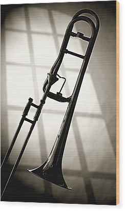 Trombone Silhouette And Window Wood Print by M K  Miller
