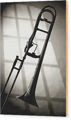 Trombone Silhouette And Window Wood Print