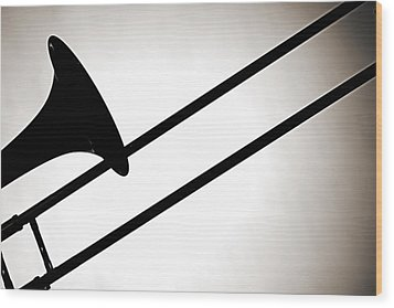 Trombone Silhouette Isolated Wood Print by M K  Miller