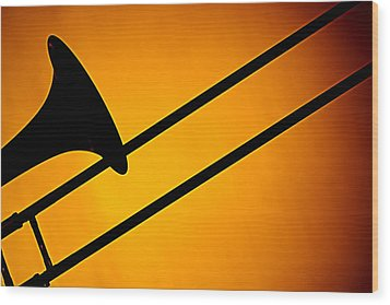 Trombone Silhouette On Gold Wood Print by M K  Miller