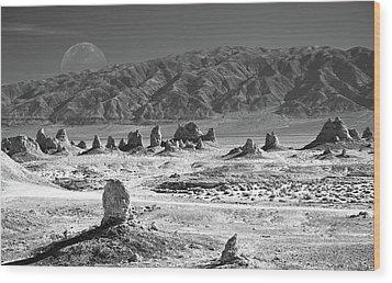 Trona Pinnacles With The Moon Wood Print by Marius Sipa