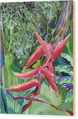 Tropcial Red Flora Wood Print by Mindy Newman
