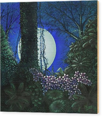 Wood Print featuring the painting Tropic Moon by Michael Frank