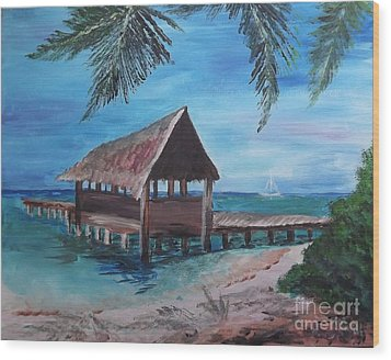 Tropical Boathouse Wood Print