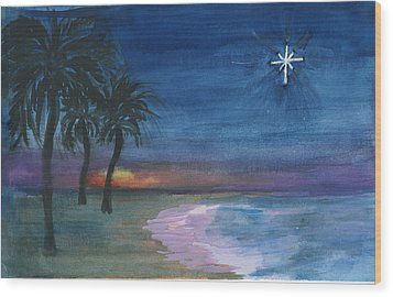 Wood Print featuring the painting Tropical Christmas by Donna Walsh