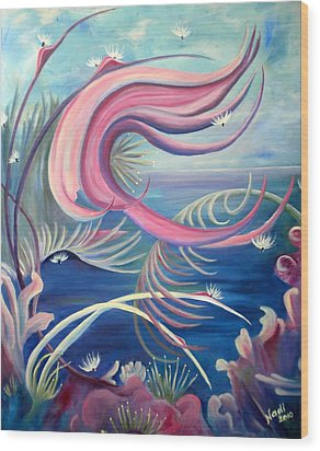 Wood Print featuring the painting Tropical Dancer by Renate Nadi Wesley