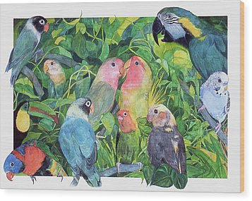 Tropical Feathers Wood Print