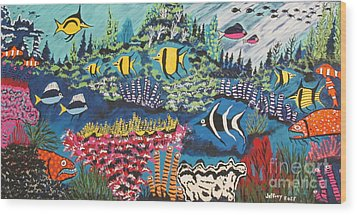 Tropical Fish Colors Wood Print