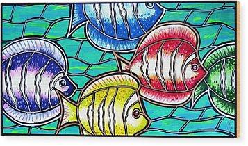 Tropical Fish Swim Wood Print by Jim Harris