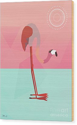 Tropical Flamingo Wood Print