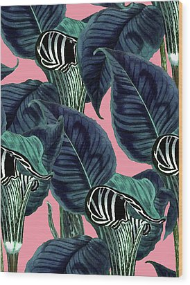Tropical Flower Pattern Wood Print by Uma Gokhale