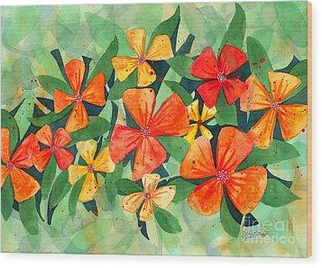 Tropical Flower Splash Wood Print by Kristen Fox