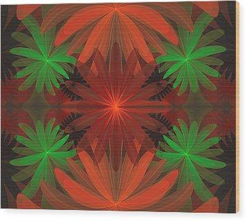 Tropical Flowers Wood Print by Sandy Keeton