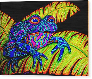 Tropical Frog Wood Print by Nick Gustafson