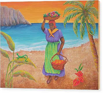 Tropical Harvest Wood Print by Pamela Allegretto