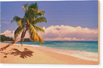 Tropical Island 6 - Painterly Wood Print by Wingsdomain Art and Photography