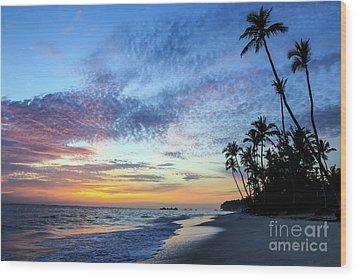 Tropical Island Sunrise Wood Print
