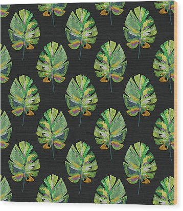 Wood Print featuring the mixed media Tropical Leaves On Black- Art By Linda Woods by Linda Woods