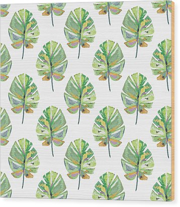 Wood Print featuring the mixed media Tropical Leaves On White- Art By Linda Woods by Linda Woods