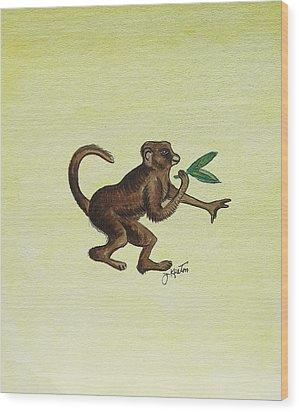 Tropical Monkey 2 Wood Print by John Keaton