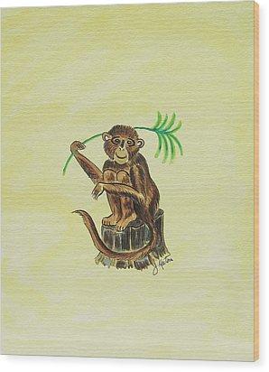Tropical Monkey 3 Wood Print by John Keaton