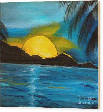 Tropical Moonshine Wood Print by Jenny Lee