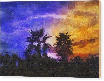 Wood Print featuring the digital art Tropical Night Fall by Francesa Miller