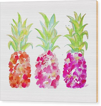 Tropical Pink And Gold Wood Print
