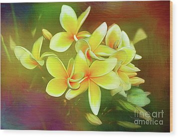 Wood Print featuring the photograph Tropical Plumeria Art By Kaye Menner by Kaye Menner