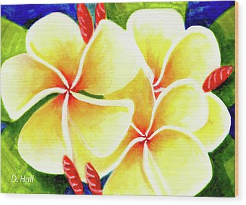 Tropical Plumeria Flowers #226 Wood Print by Donald k Hall