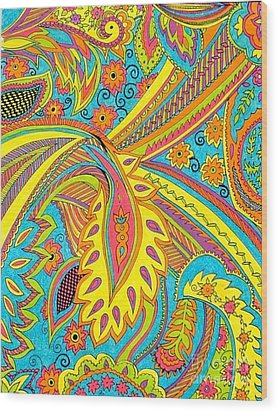Tropical Sizzle Wood Print by Ramneek Narang
