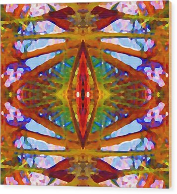 Tropical Stained Glass Wood Print by Amy Vangsgard