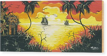 Tropical Sunset Wood Print by Herold Alvares