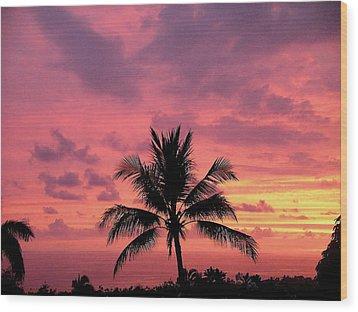 Tropical Sunset Wood Print by Karen Nicholson