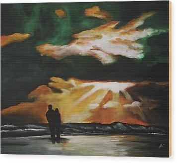 Tropical Sunset Wood Print by Kim Selig
