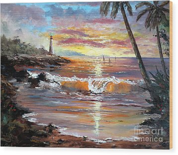 Tropical Sunset Wood Print by Lee Piper