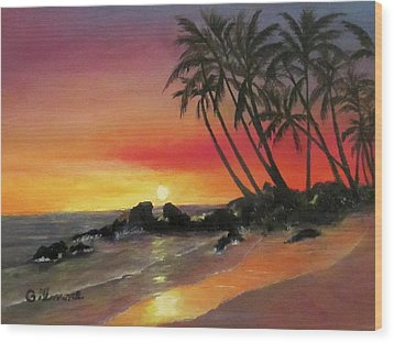 Tropical Sunset Wood Print by Roseann Gilmore