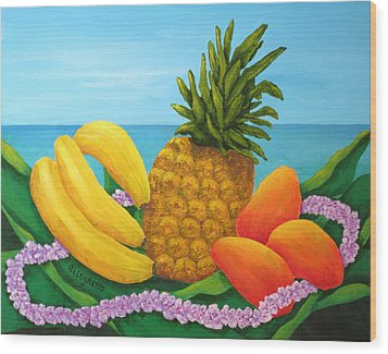 Tropical Trinity Wood Print by Pamela Allegretto