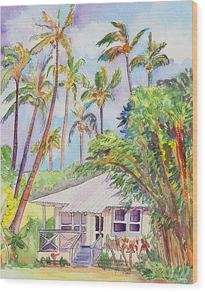 Tropical Waimea Cottage Wood Print by Marionette Taboniar