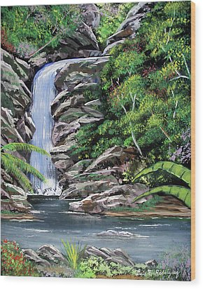 Tropical Waterfall 2 Wood Print by Luis F Rodriguez