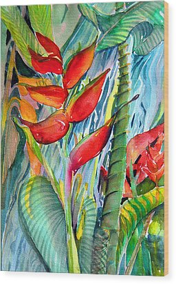 Tropical Waterfall Wood Print by Mindy Newman