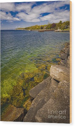 Tropical Waters Of Door County Wisconsin Wood Print by Mark David Zahn Photography