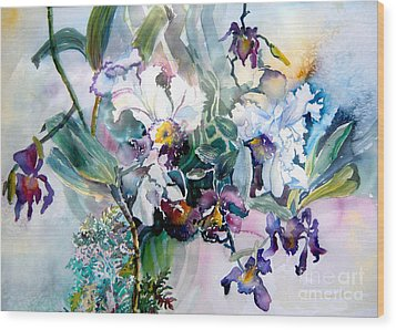Tropical White Orchids Wood Print by Mindy Newman
