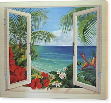 Tropical Window Wood Print by Katia Aho