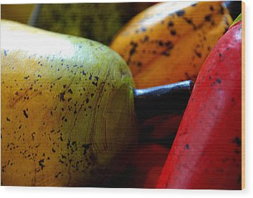 Tropical Wooden Fruits Wood Print by Valmir Ribeiro