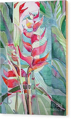Tropicana Red Wood Print by Mindy Newman