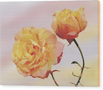 Tropicana Roses Wood Print by Jan Baughman