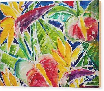 Tropics - Floral Wood Print by Julie Kerns Schaper - Printscapes