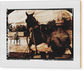 Wood Print featuring the photograph trotting 1 - Harness racing in a vintage post processing by Pedro Cardona