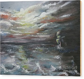 Wood Print featuring the painting Troubled Waters Complete by Isabella F Abbie Shores FRSA